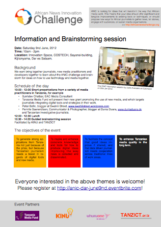 African News Innovation Challenge - Information and Brainstorming Session Flyer