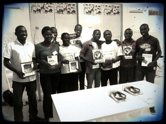 Winners of the hackathon received coding books