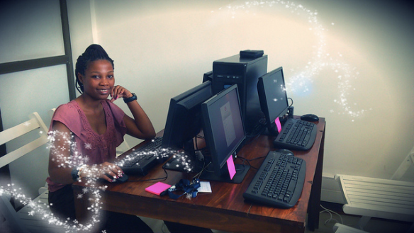 Irene testing out the 4-seat linux workstation