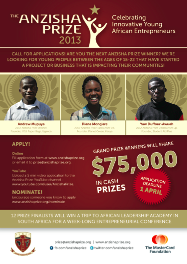 Download the Anzisha Prize 2013 Flyer (pdf)