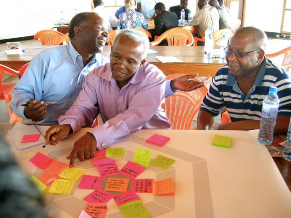 Academic staff brainstorming ideas for mainstreaming entrepreneurship at Tumaini University in Iringa - click to see all photos from the workshop