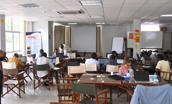 Participants working at the Android Coding Workshop