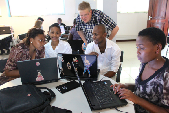 Teemu instructing participants on how to create their first Windows phone app. Click to see all photos!