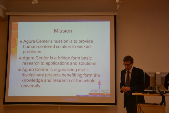 Director Antti Hautamäki presenting Agora