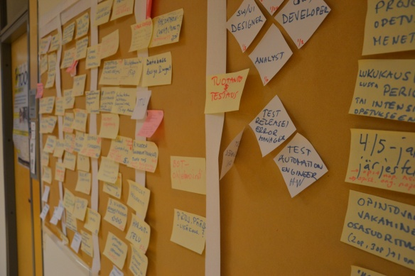 Project management with post-it notes