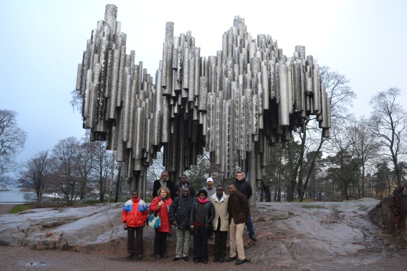 Group Photo in front of the Sibelius Monument in Helsinki